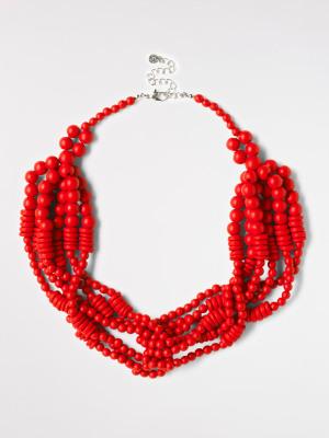 Multi Plaited Bead Necklace