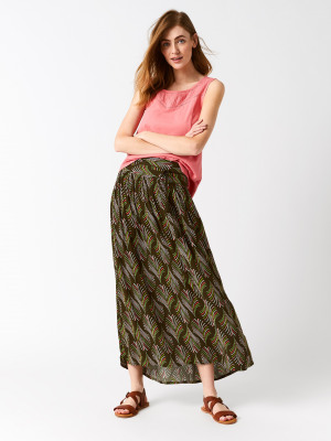 f81456df959 Crinkle Palm Woven Maxi Skirt GROVE GREEN PRINT