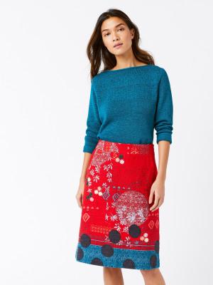 217b8d075d1ad Sketchbook Skirt CORAL RED PRINT