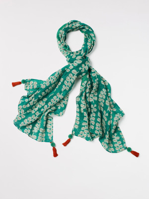 Printed Linen Floral Scarf