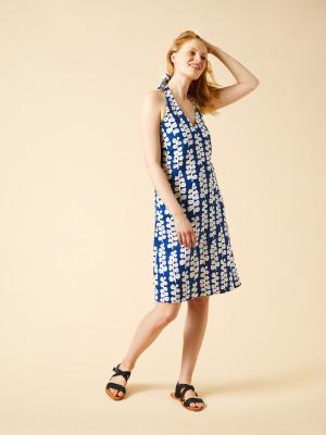 16d674768a Hannah Linen Dress COBALT BLUE PRINT