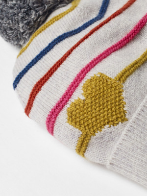 Heart & Stripe Pom Hat