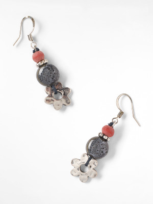 Flower & Ceramic Drop Earring