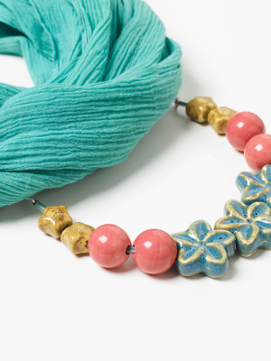Flower Ceramic Scarf Necklace