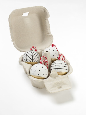 Painted Wooden Baubles x4