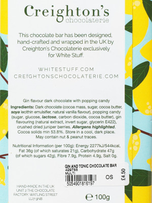 Gin and Tonic Chocolate Bar