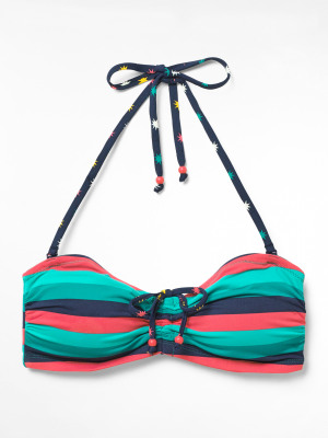 Multi Stripe Drawstring Bikini Top