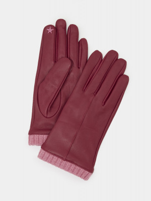 Wool Cuff Leather Gloves