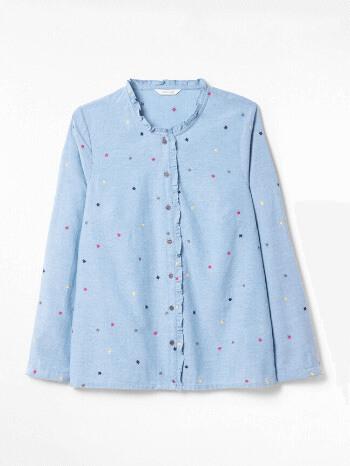 Chambray Blue Plain Cleo Cotton Embroidered Shirt – White Stuff
