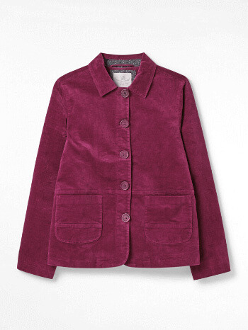 Cranberry Plum Plain Devin Velvet Worker Jacket – White Stuff