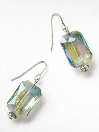 Marina Blue Oblong Glass Drop Earrings – White Stuff