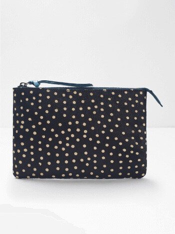 Teal Leather Spot Suede Pouch White Stuff