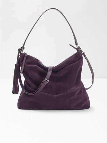 Grape Purple Tawny Suede Hobo Bag – White Stuff