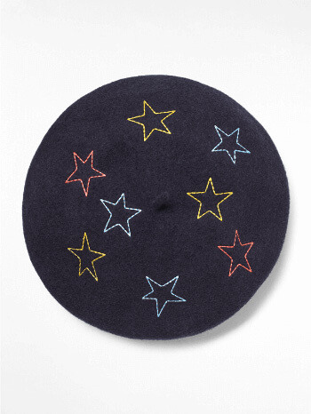 Navy Star Print Lucy Beret – White Stuff