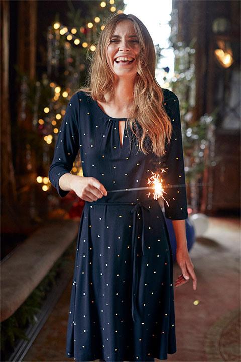 Ditsy Foil Spot Dress