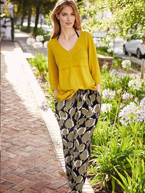 mustard blouse, summer trousers