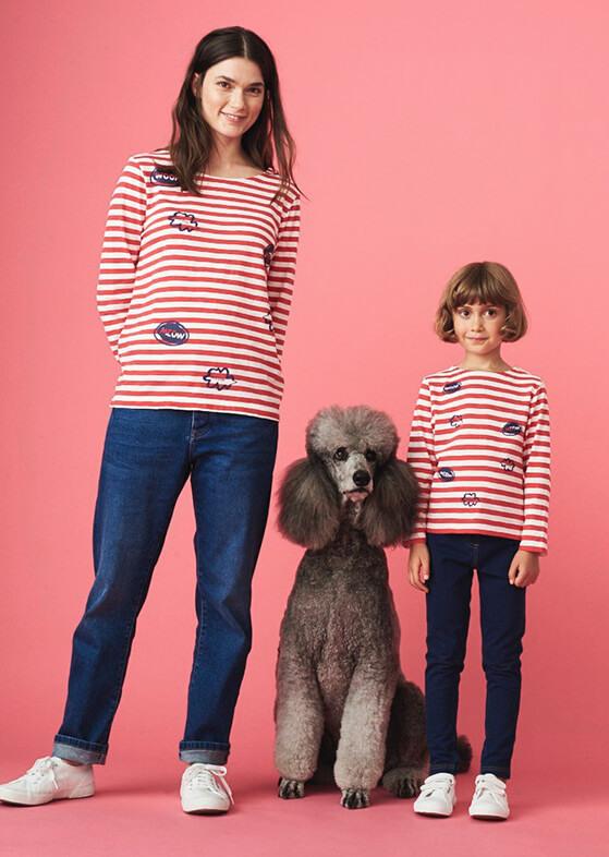 Meow Stripe Jersey Tee & Kids Meow Stripe Jersey Tee