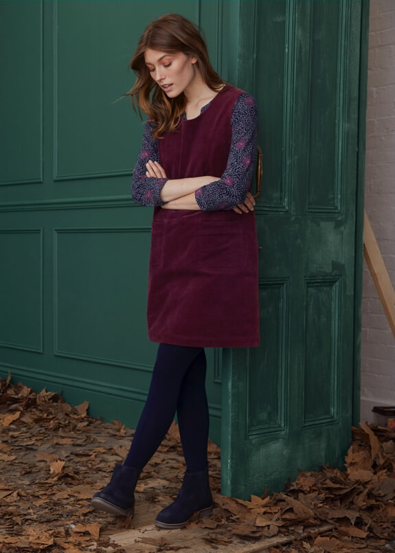 Burgundy cord pinafore dress with boots