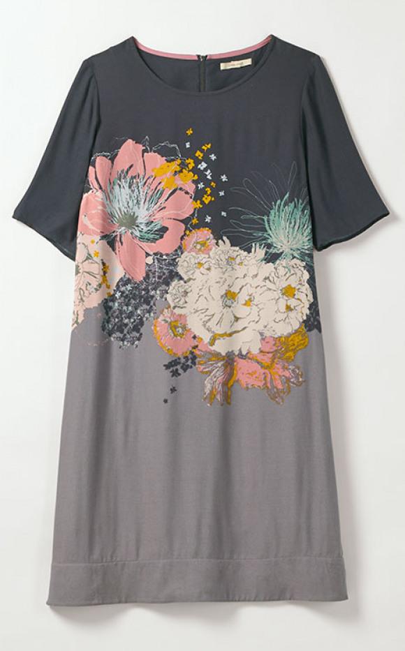 grey printed floral dress