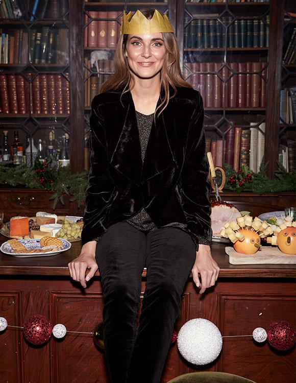 Velvet jacket + sparkly top + velvet trousers