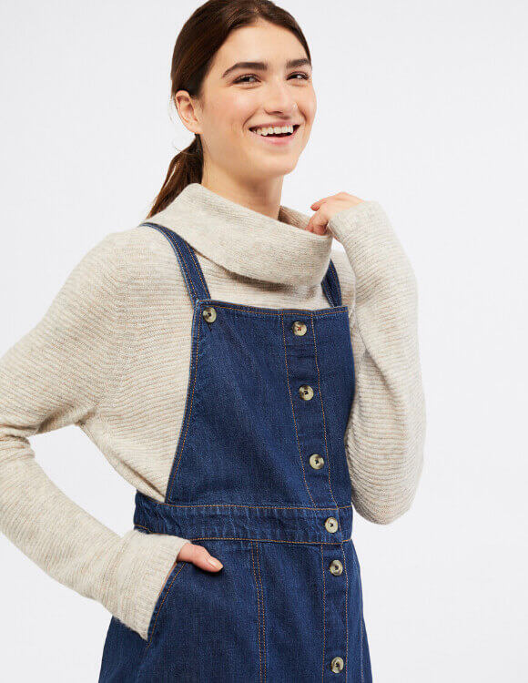 How to Wear a Cowl Neck – Pinafore Dress – White Stuff