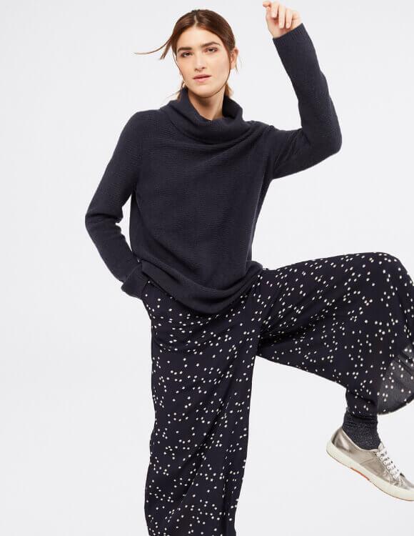 Dapple Longline Cowl Neck Jumper with Culottes – White Stuff