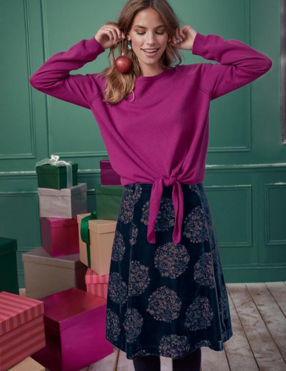 pink knitwear & velvet party skirt