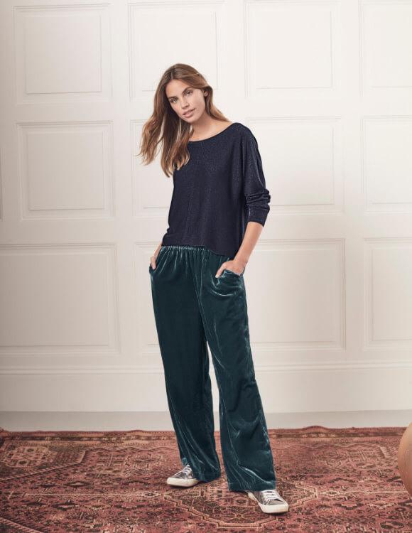 wide leg velvet trousers