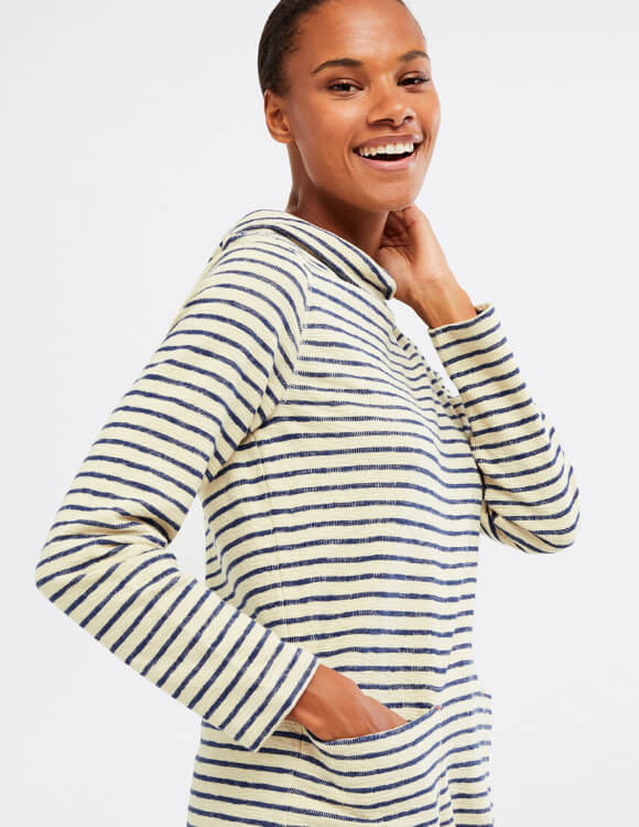 Textured Jersey - Sally Cowl Stripe Jersey Top - White Stuff