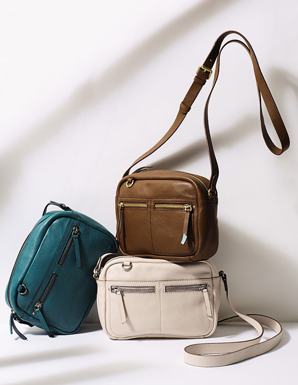 Green, brown and cream cross body bags