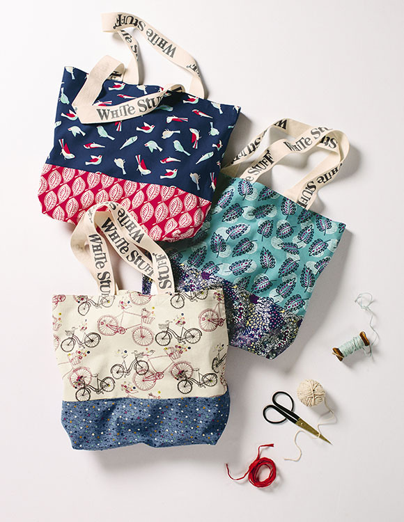 Colourful print tote bags