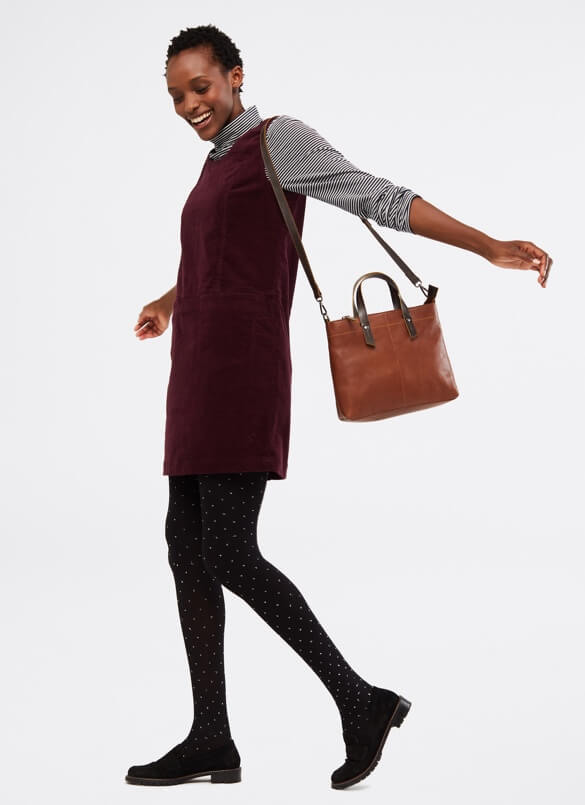Smart outfit for green cord pinafore dress