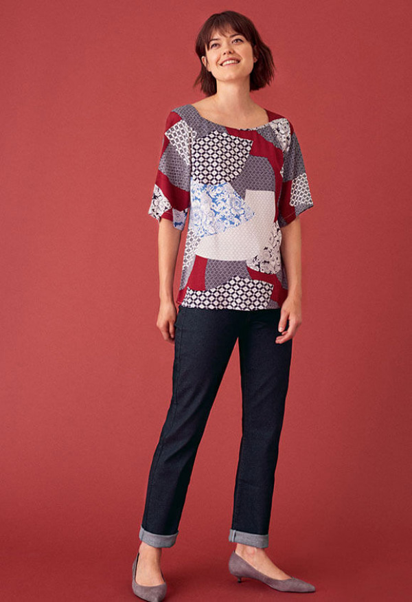 Akira viscose top and Birch straight jeans