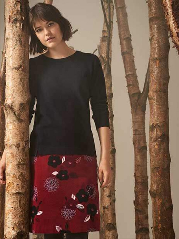 Meadow merino wool and cotton jumper and Midnight print cord skirt