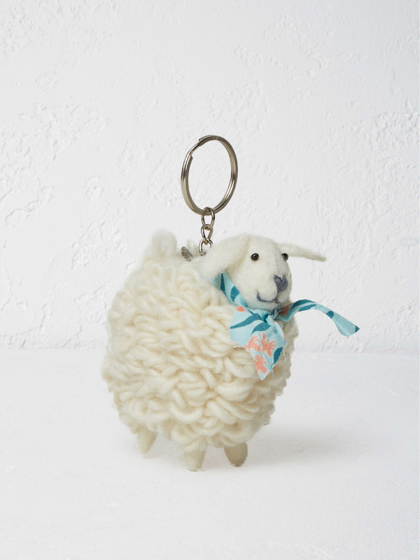White Stuff Sheep With Scarf Keyring