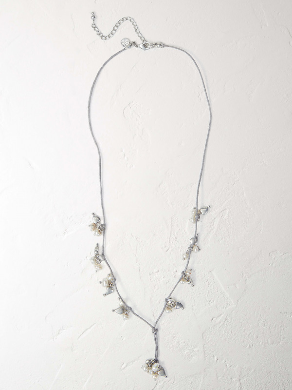 White Stuff Cluster Pearl Lariat Necklace