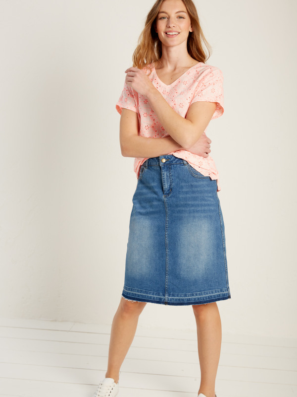 White Stuff Kerala Denim Fringe Hem Skirt