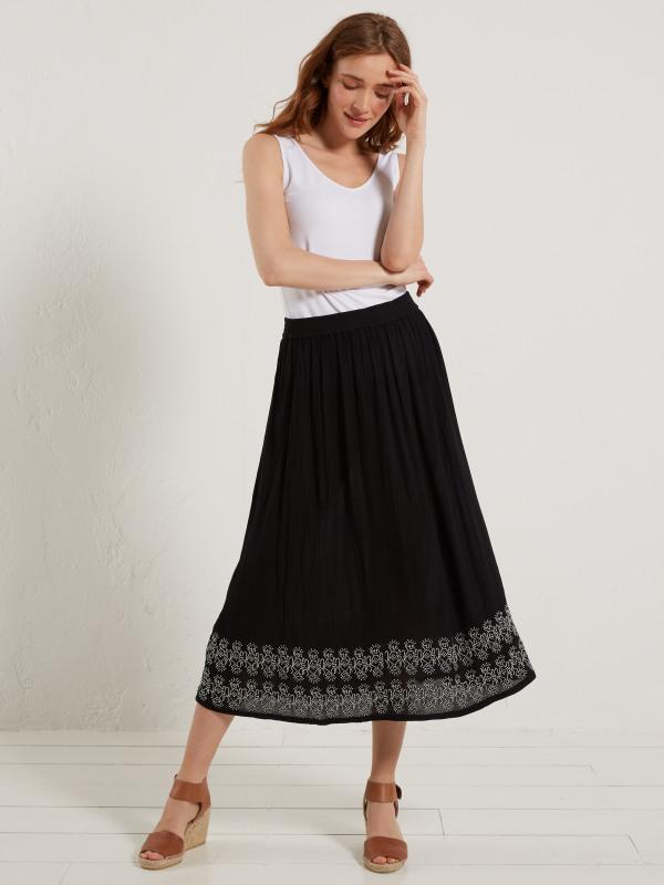 White Stuff Alissa Crinkle Emb Skirt