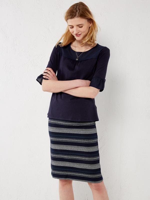 White Stuff Shadow Stripe Jersey Skirt