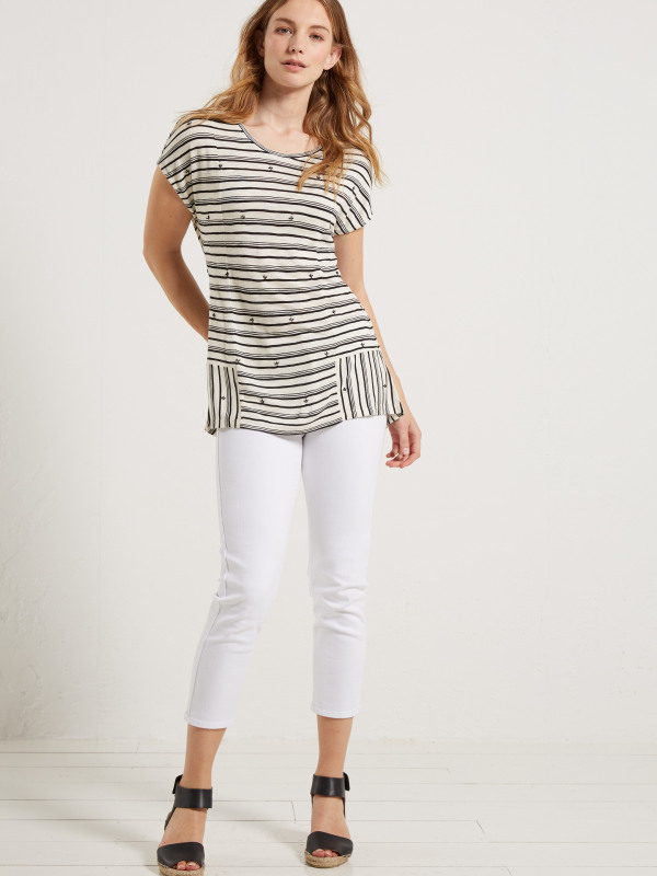White Stuff Pretty Stripe Emb Jersey Tee