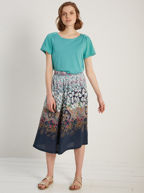 White Stuff Freesia Printed Midi Skirt