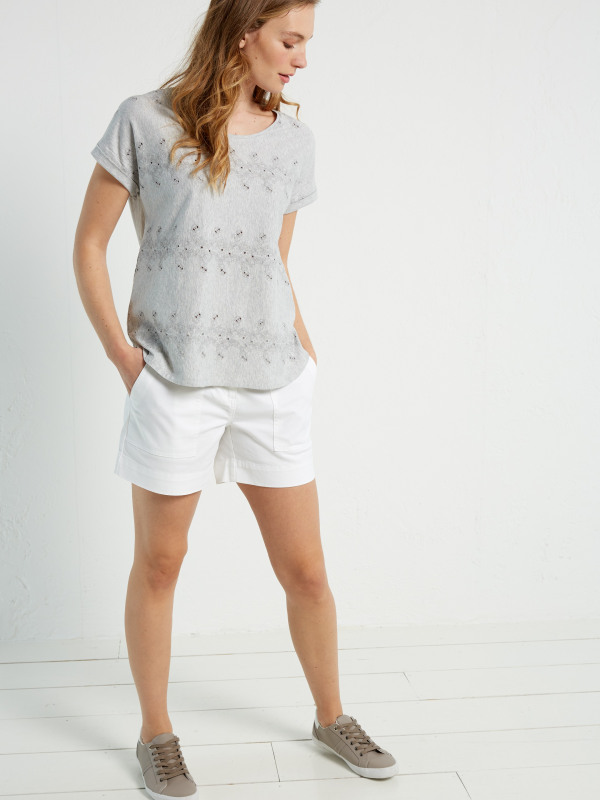 White Stuff Claire Emb Jersey Tee