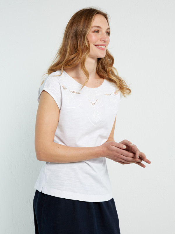 White Stuff Pretty Cutwork Jersey Tee