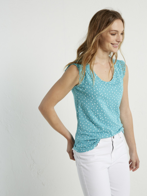 White Stuff Lilly Lace Jersey Vest
