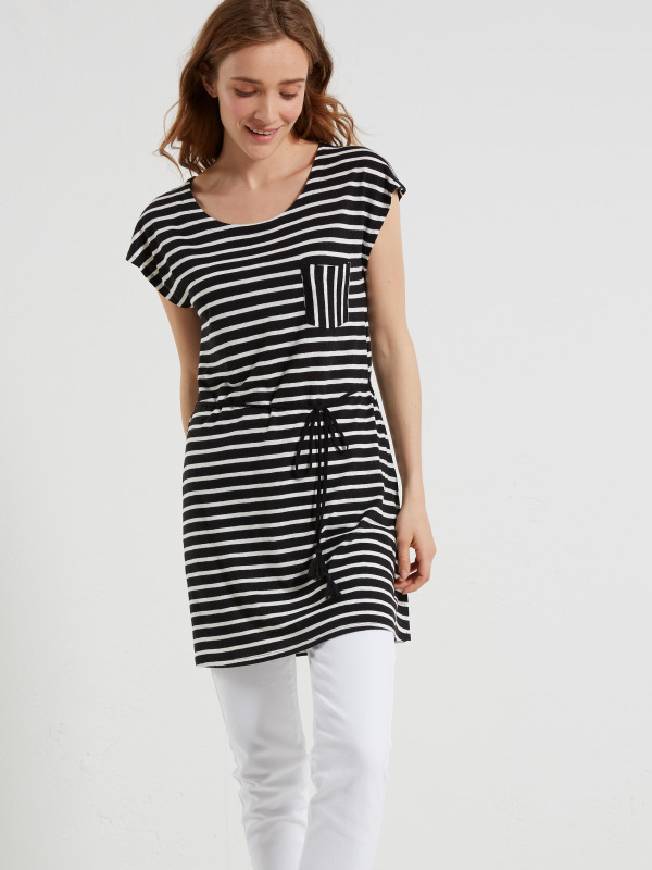 White Stuff Monochrome Stripe Jersey Tunic