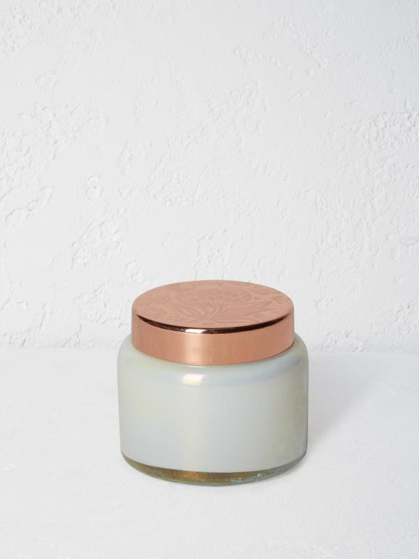 White Stuff Glass Candle Jar