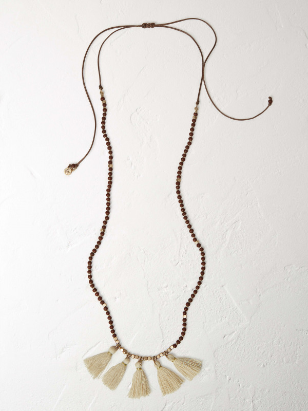 White Stuff Hessian Tassel Necklace