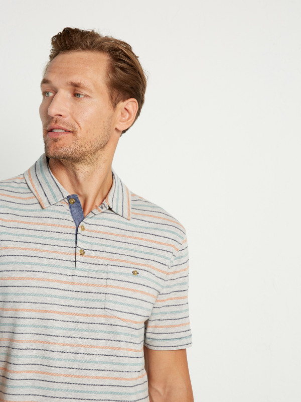 White Stuff Dashed Multi Stripe Polo