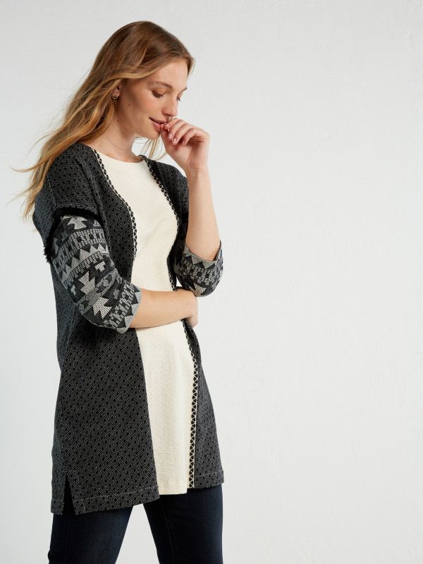 White Stuff Jacquard Panel Jersey Tunic