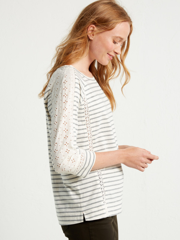 White Stuff Lace Stripe Jersey Tee